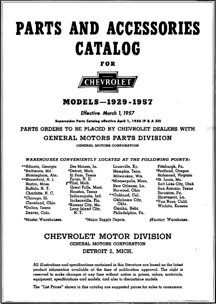 1929 - 1957 Chevrolet Master Parts & Accessories Catalog