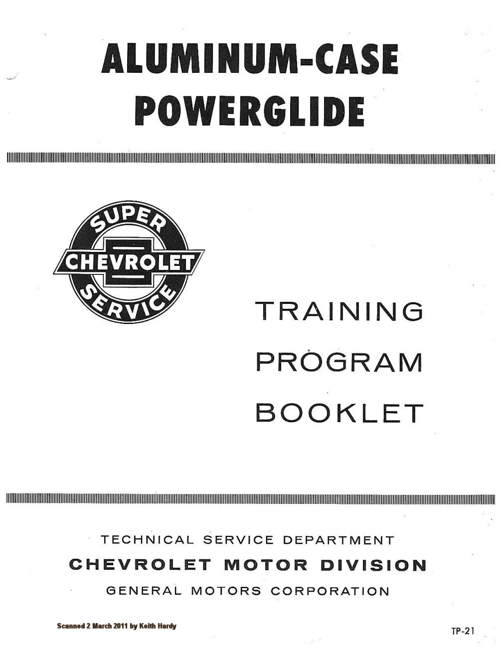 1962 Chevrolet ALUMINUM-CASE POWERGLIDE Training Program Booklet TP-21