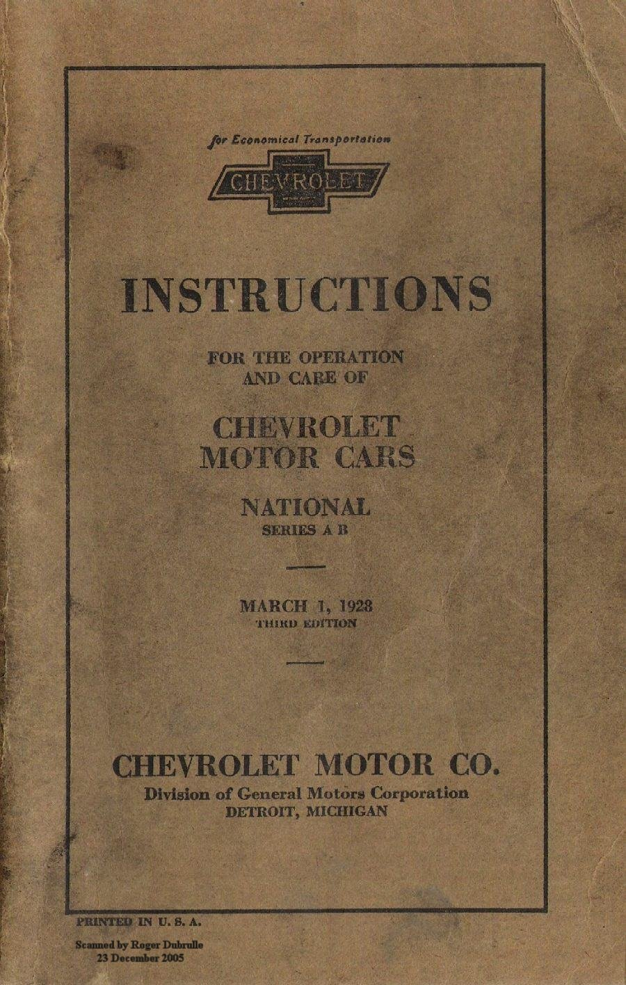 Old Chevy Owners Manuals