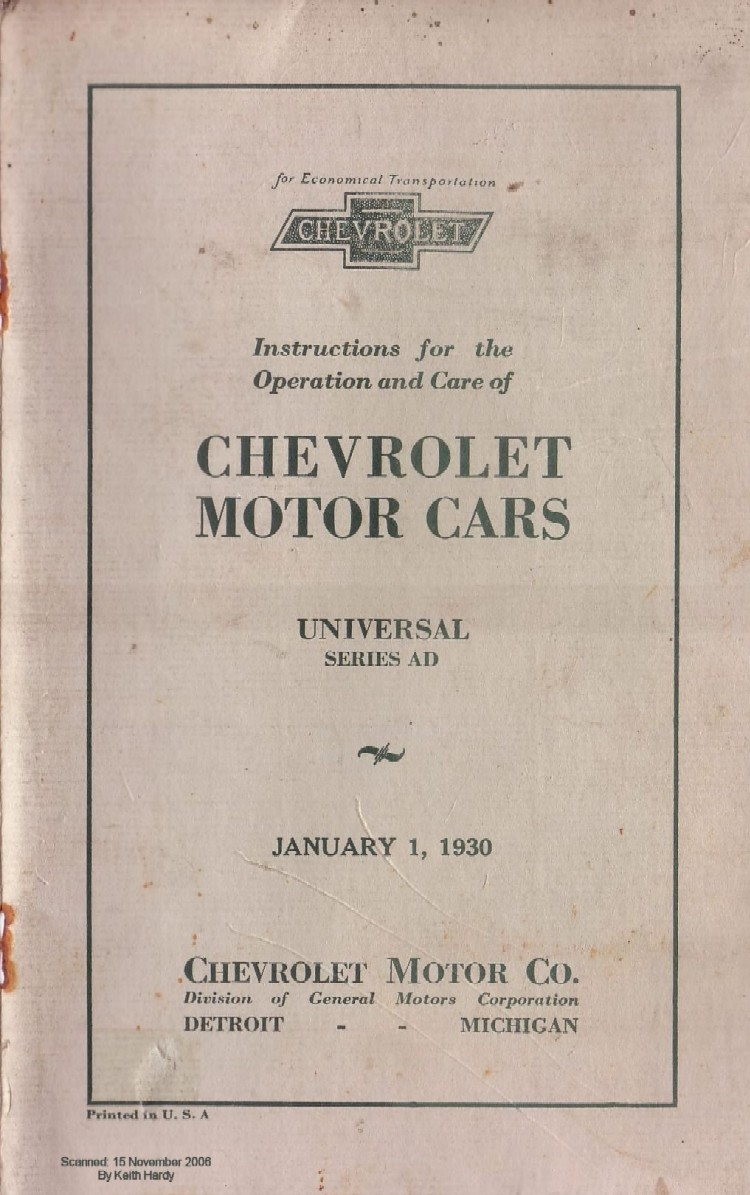 1934 chevy owner u0026 39 s manual