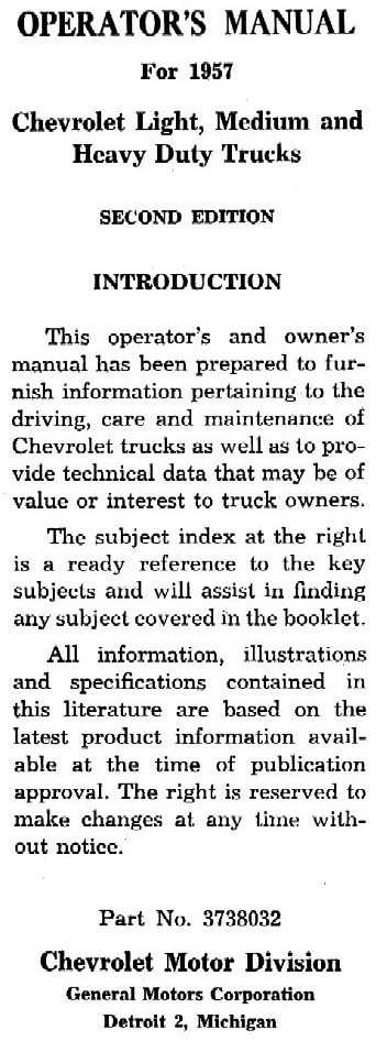 1957 chevy truck owner s manual rh chevy oldcarmanualproject com 1957 chevy truck factory assembly manual 1957 chevy truck repair manual