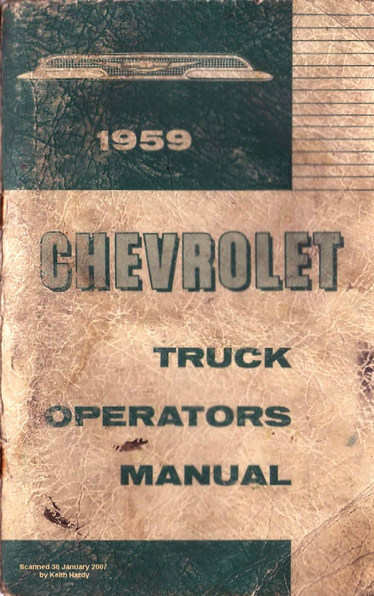1959 Chevy Truck Owner S Manual