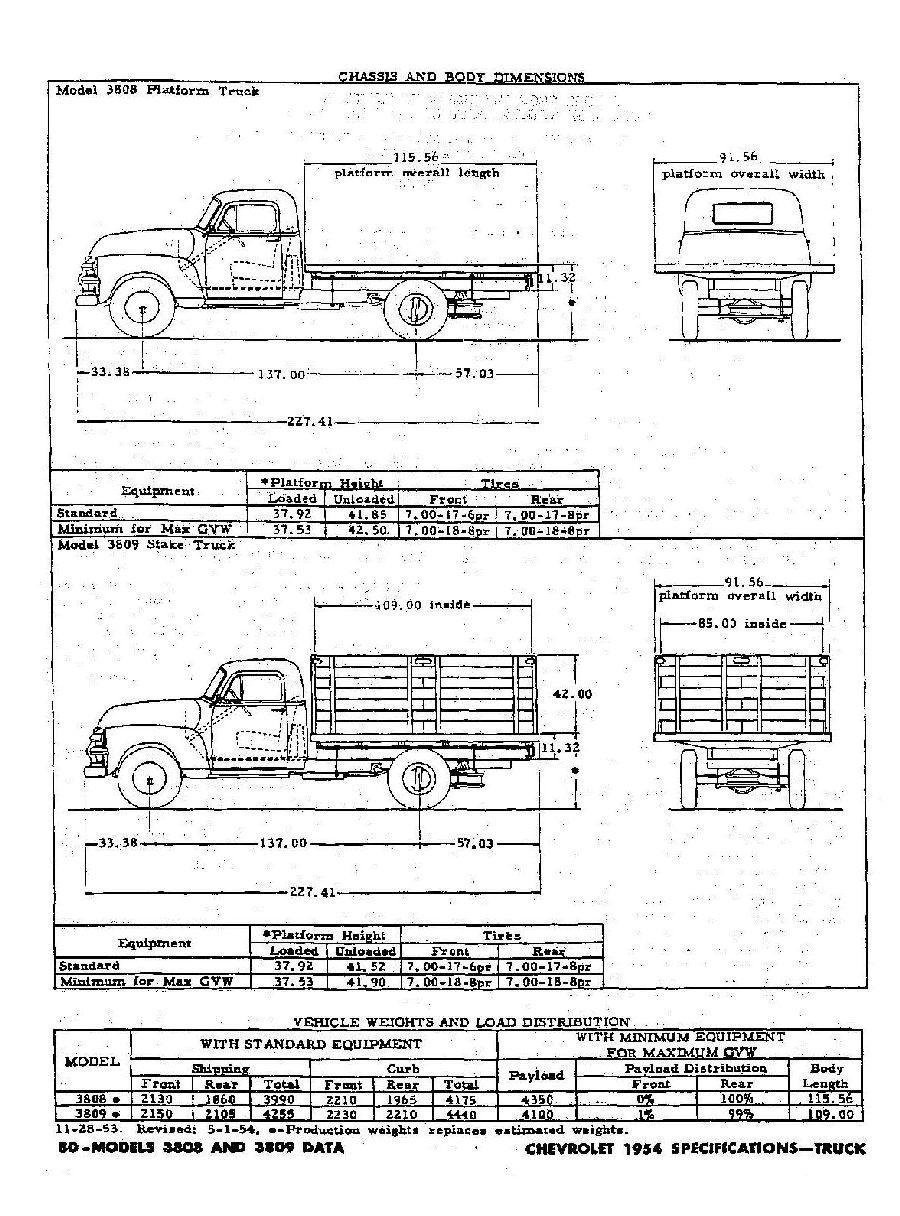 1954 Chevrolet Specifications - Trucks