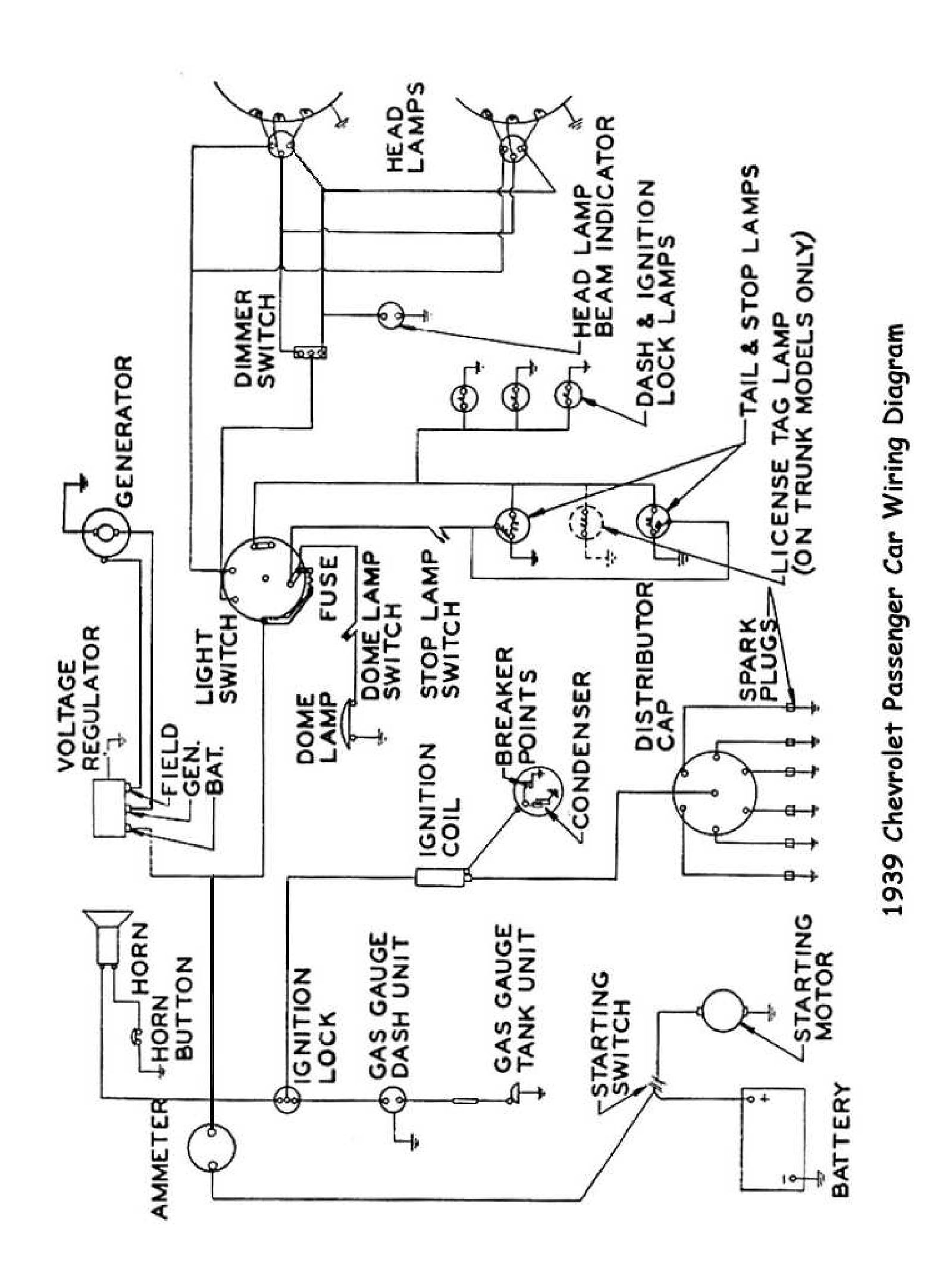chevy wiring diagrams 1953 Chevy 4 Door 1939 passenger car wiring