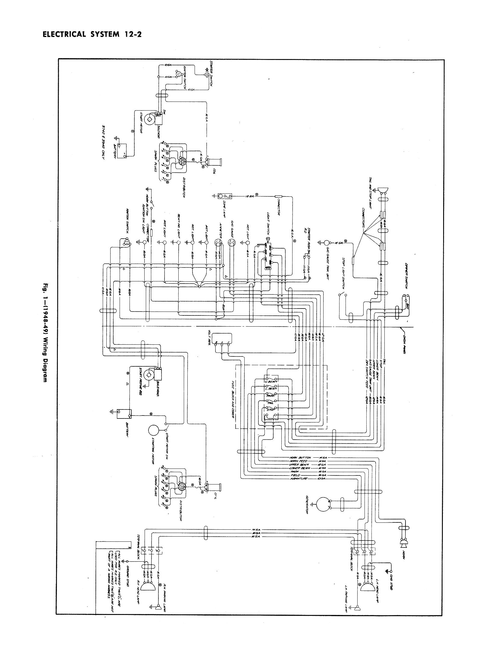 1952 chevy truck headlight wiring diagram
