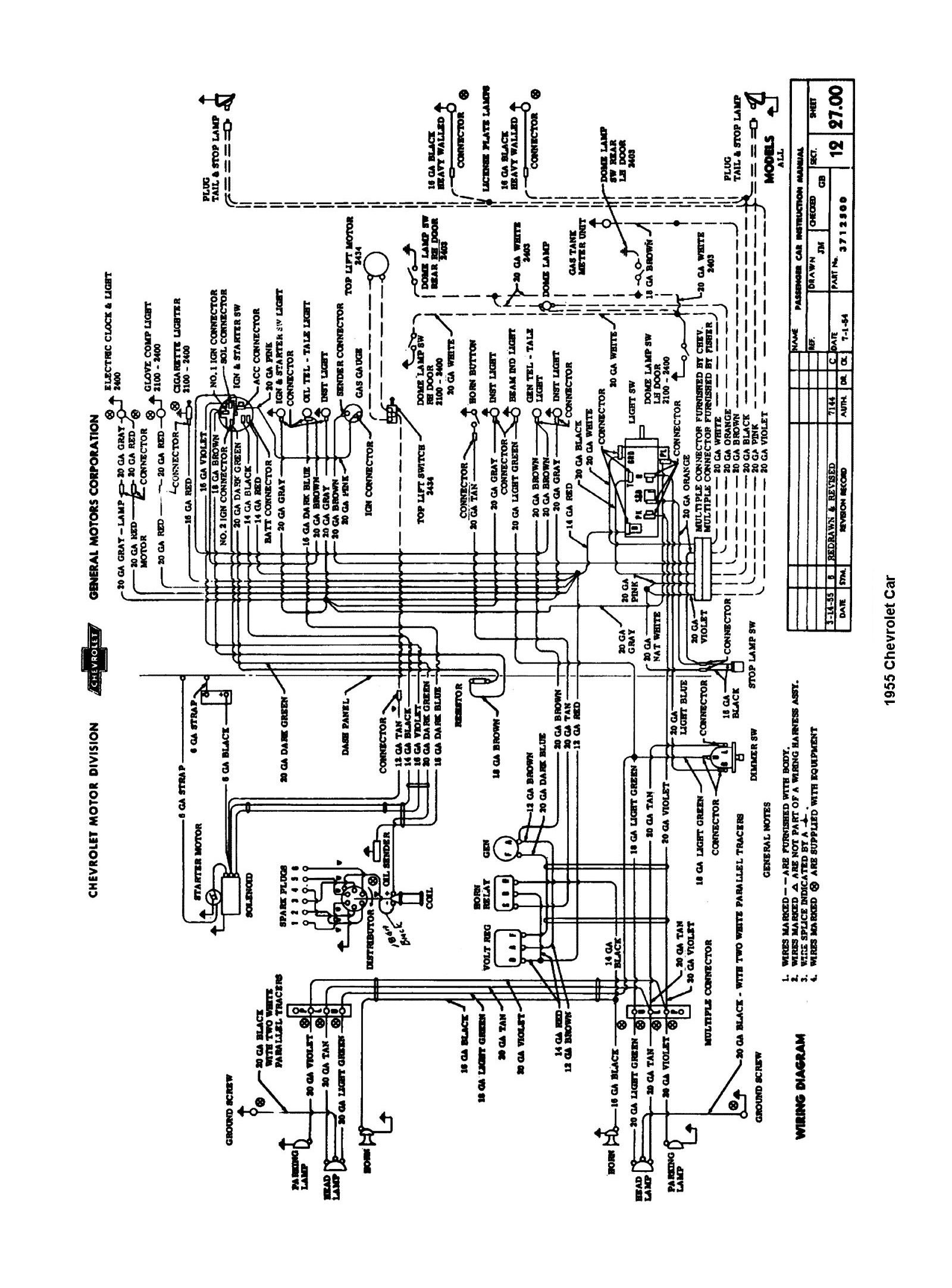 1955, 1955 Car Wiring Diagrams · 1955 Passenger Car Wiring ...