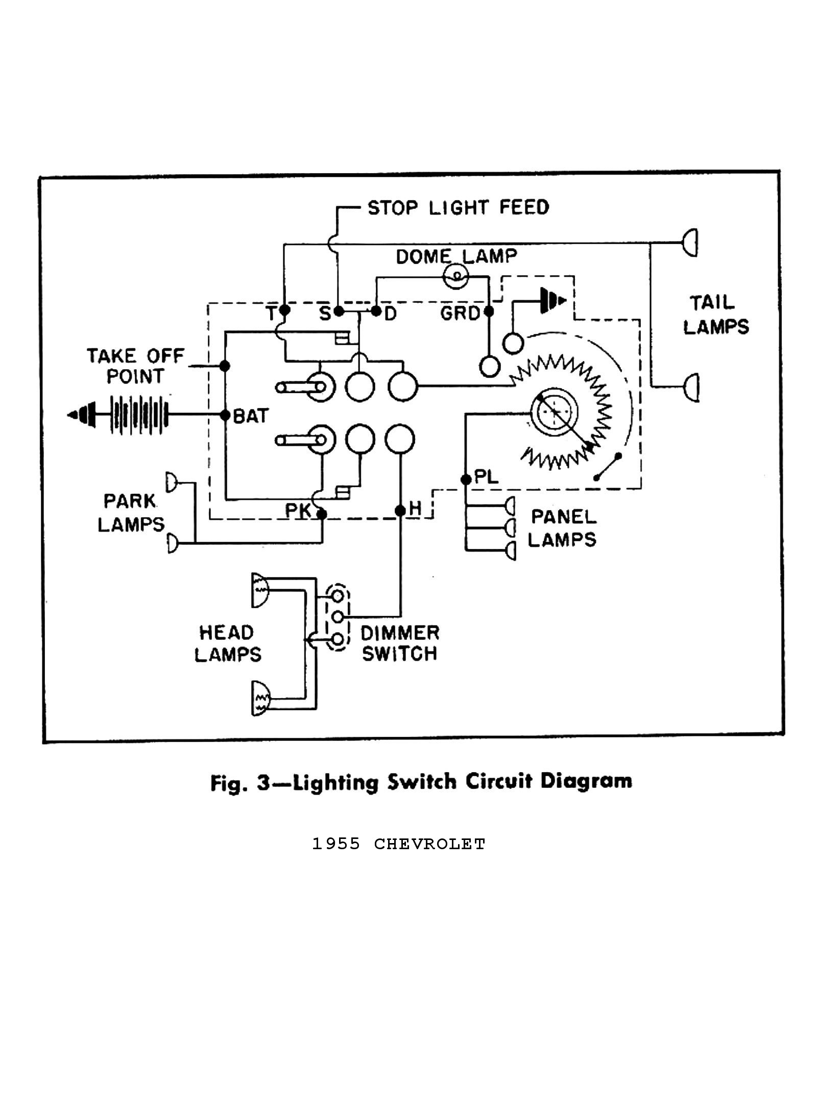 1955 Truck Wiring Diagrams · 1955 Passenger Car Wiring 2 · 1955 Lighting  Switch Circuit