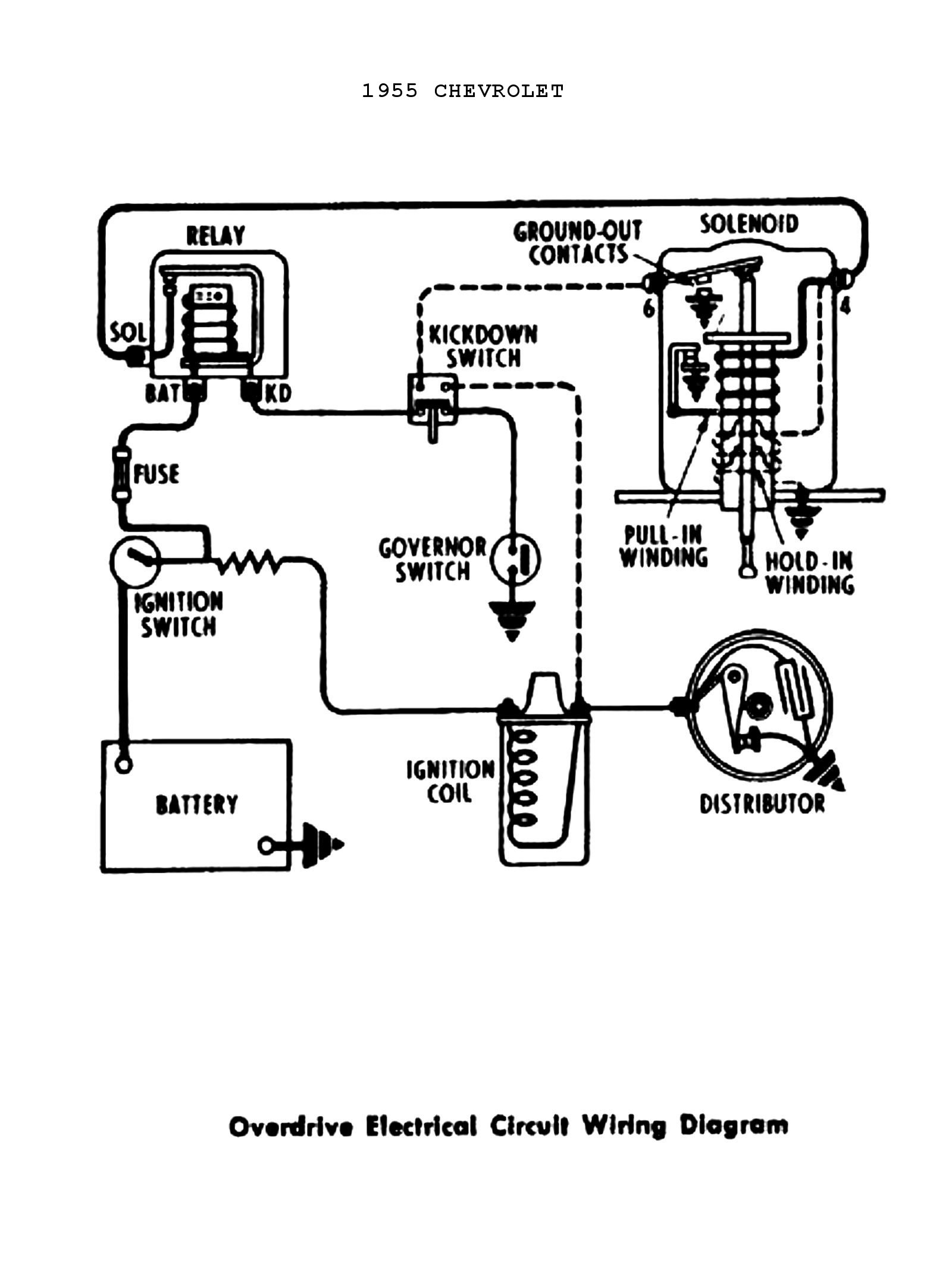 chevy wiring diagrams Car Headlight Diagram 1955 power windows \u0026 seats � 1955 overdrive circuit