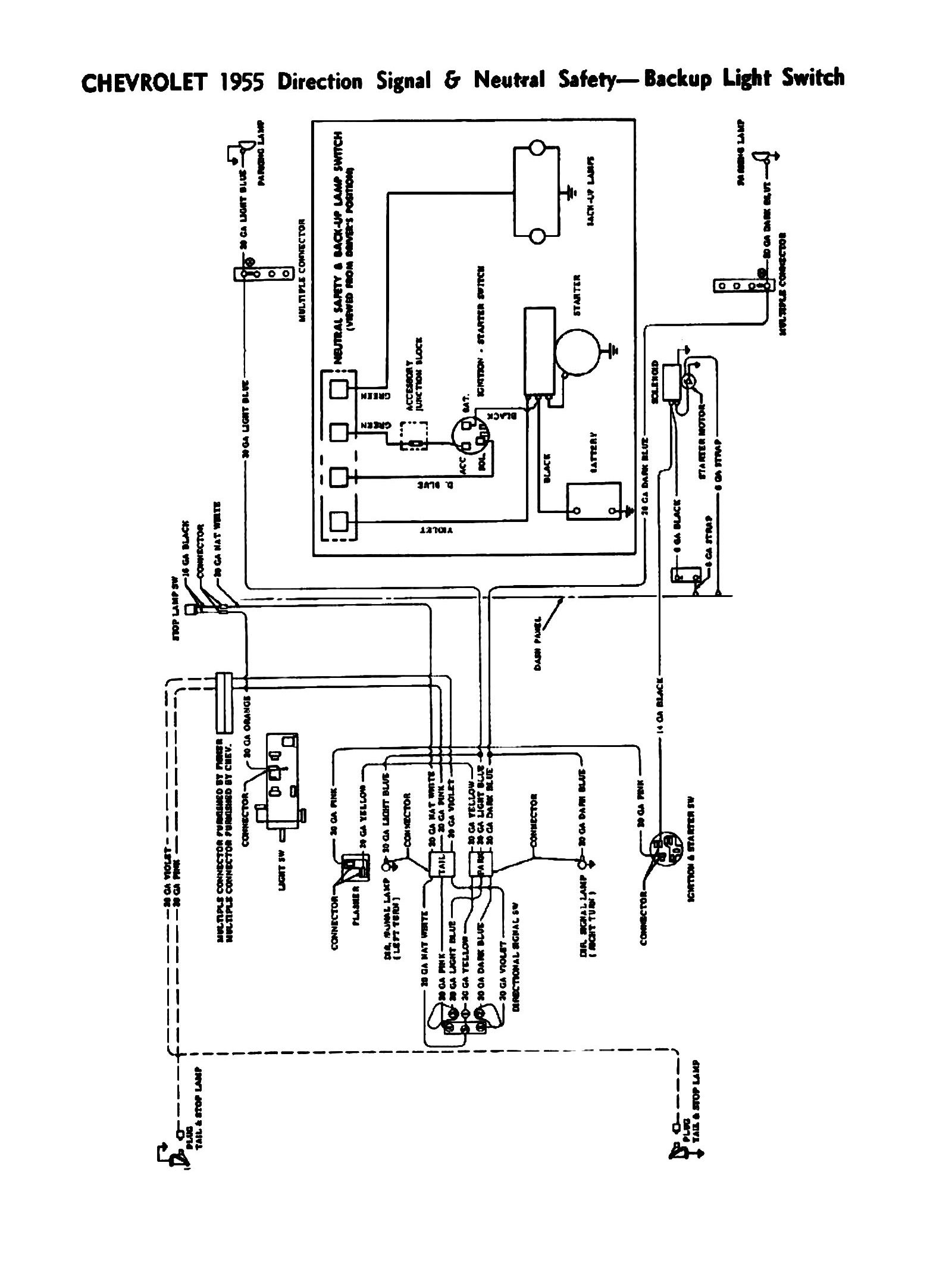 Chevy Wiring Diagrams 1977 Chevrolet Truck Turn Signal Diagram Free Picture 1955 Directional Signals Neutral Safety Backup Switches