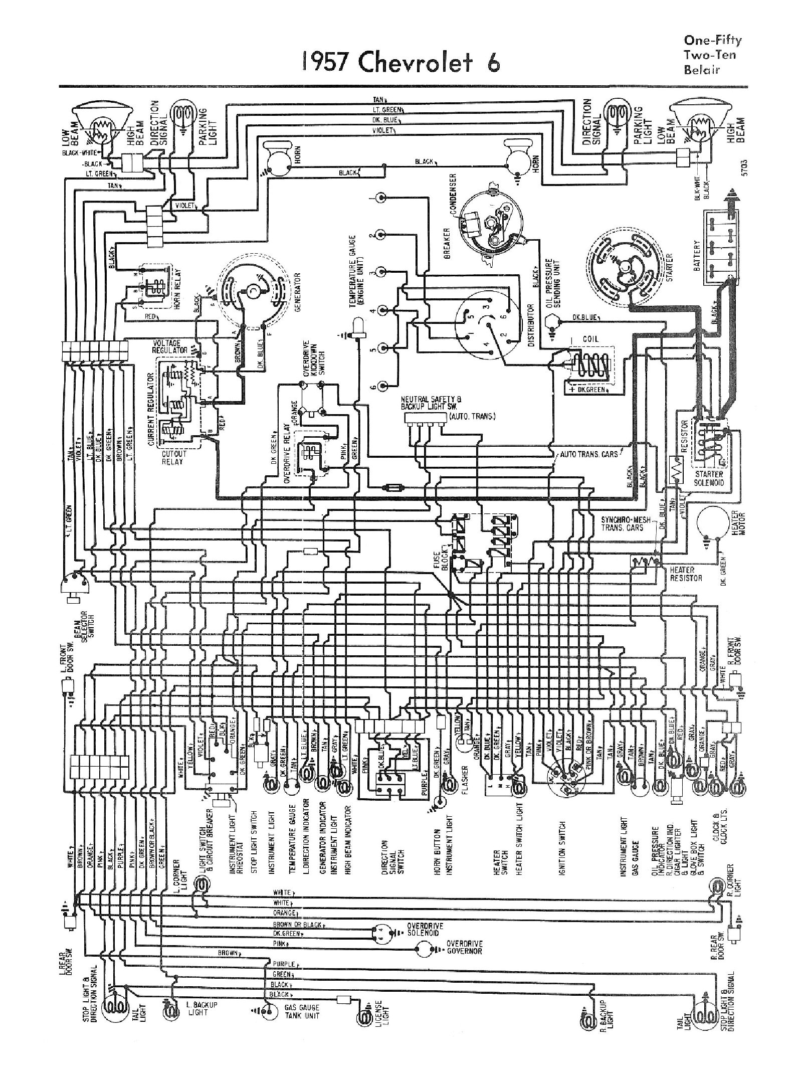 Chevy Wiring Diagrams 1960 Impala Diagram 1957 Car 6 Cylinder