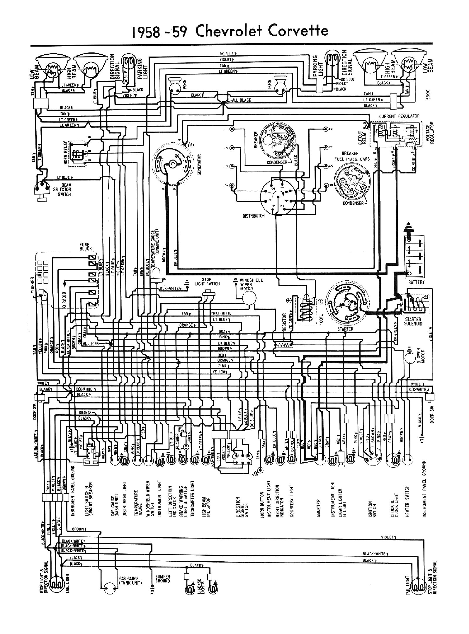 1959, 1959 Car Wiring Diagrams · 1959 Car - 6 Cylinder Wiring · 1959  Corvette Wiring