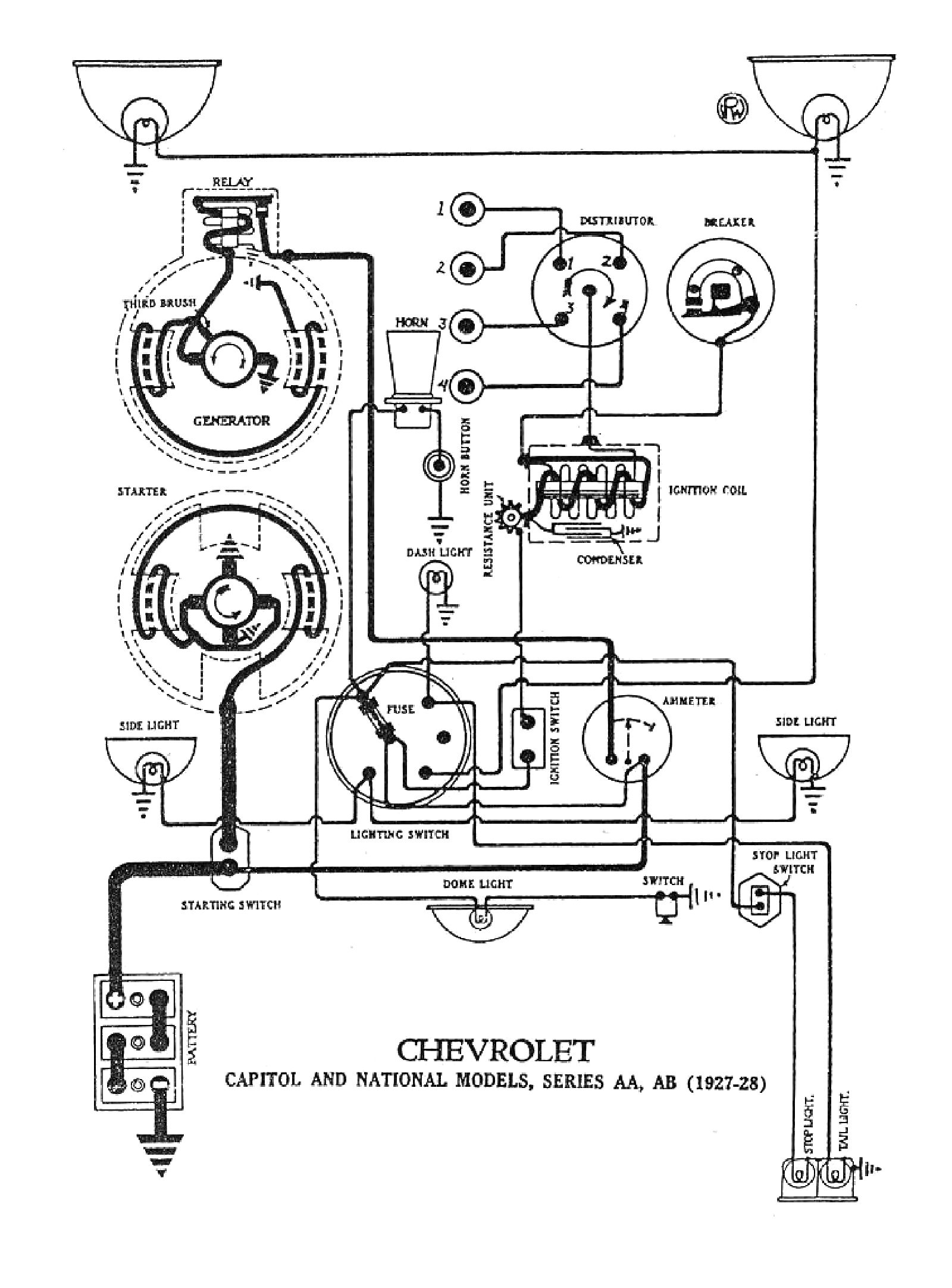 chevy wiring diagrams gm wiring schematics 1927 capitol & national models 1928, 1928 wiring diagrams
