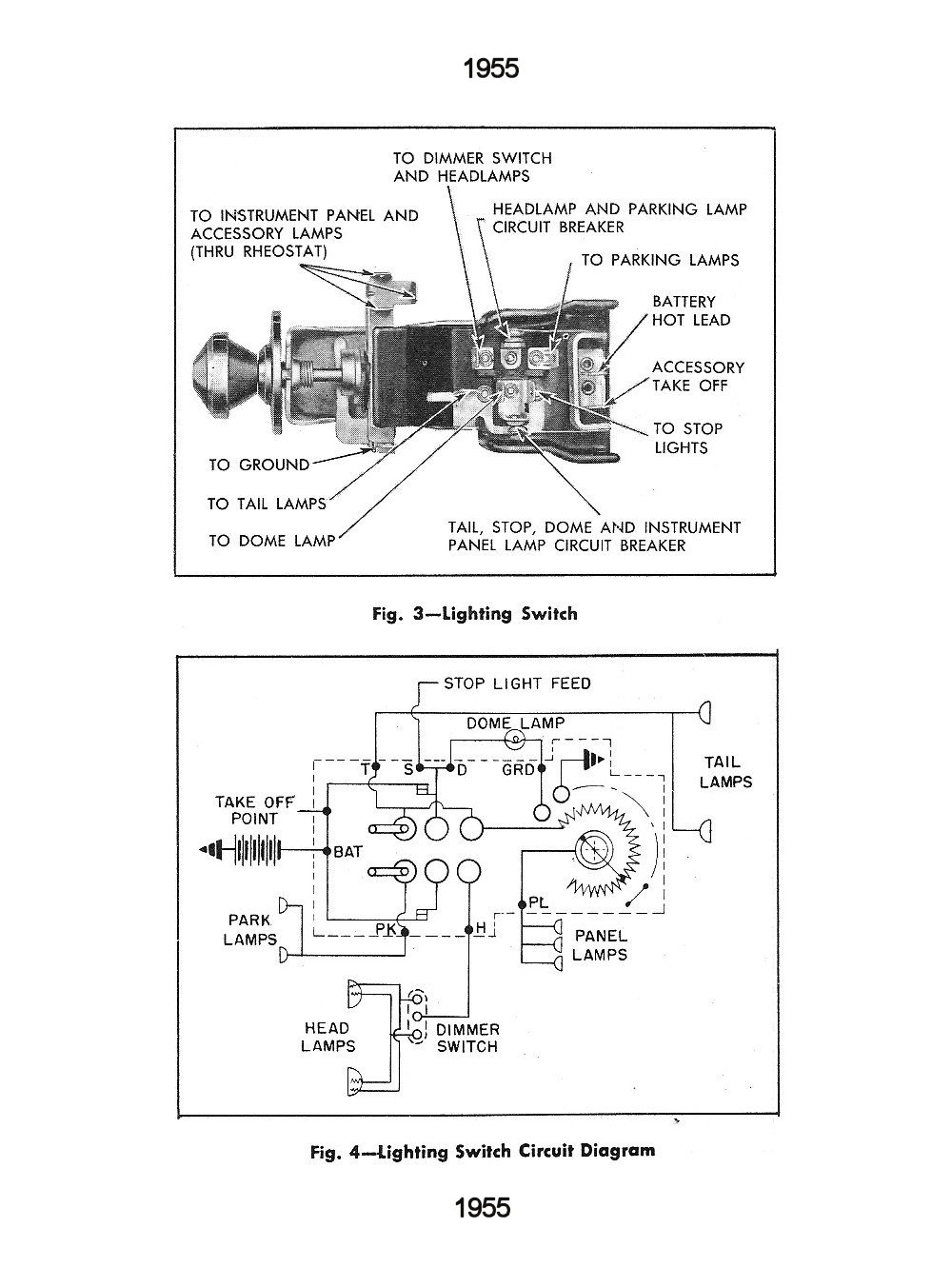 1955 lighting switch & circuit