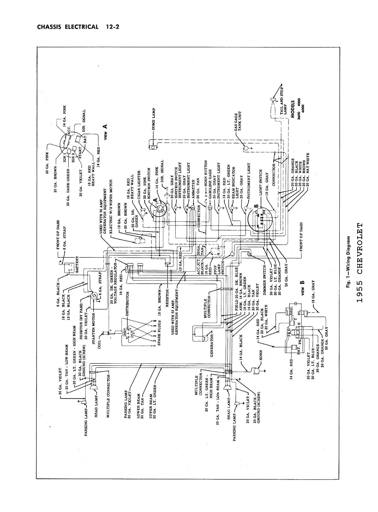 Chevy Wiring Diagrams Old Dimmer Switch Diagram 1955 Car Passenger Truck