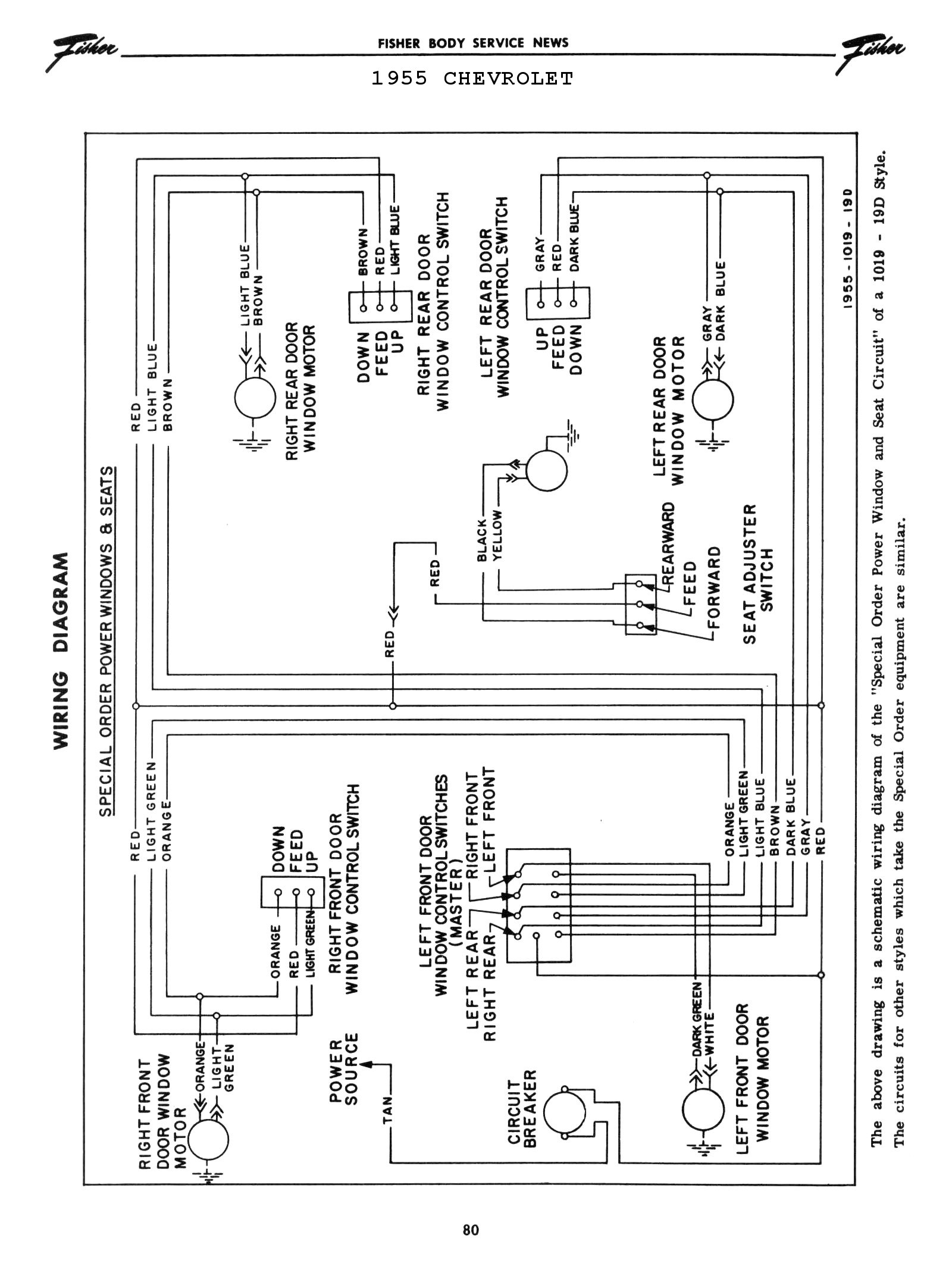 Chevy Wiring Diagrams Panel From Tail Light Diagram Lights Fuse To 1975 1955 Power Windows Seats 2