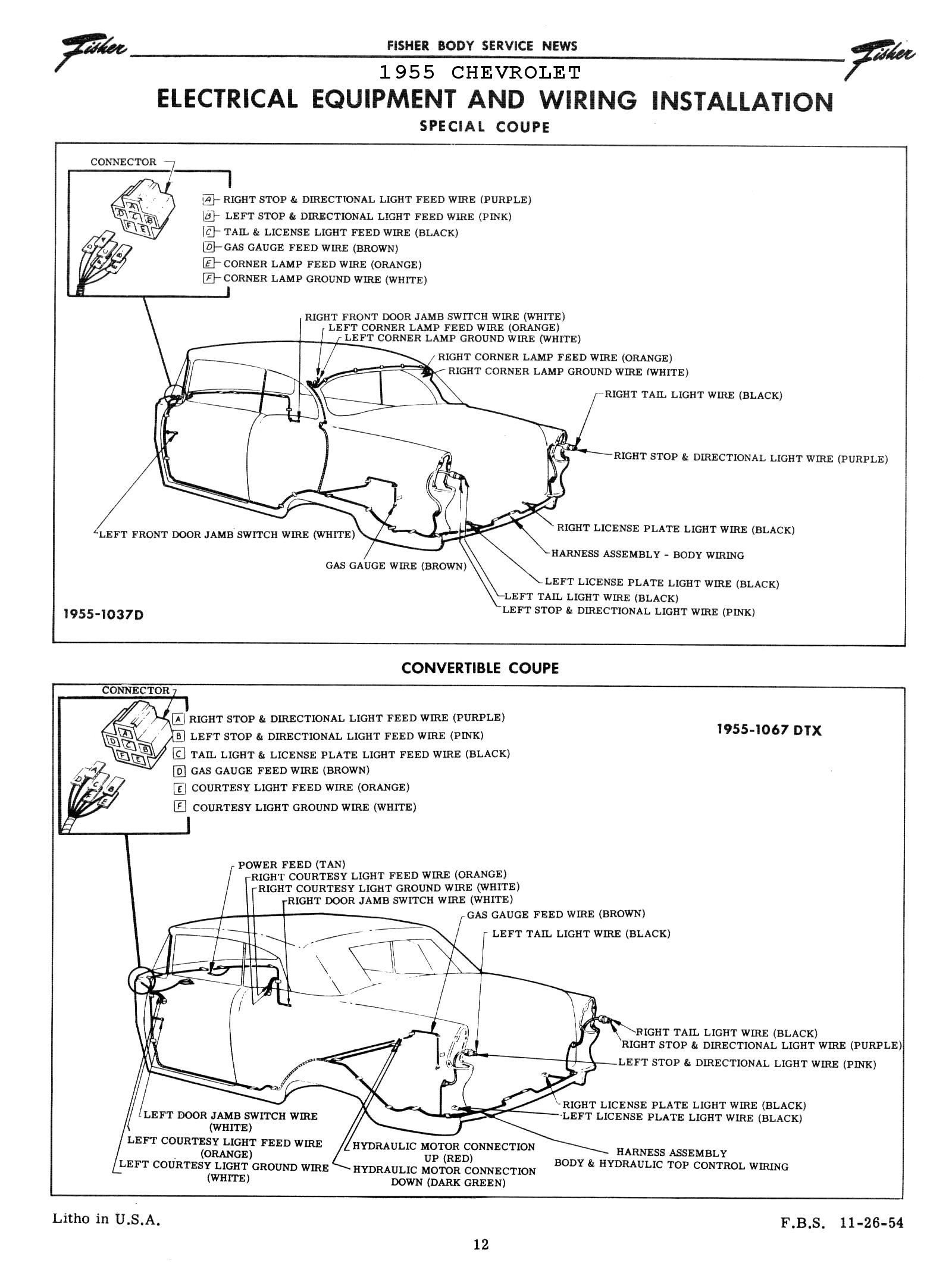 Chevy Wiring Diagrams Corvette Tail Light Diagram 1955 Body 3