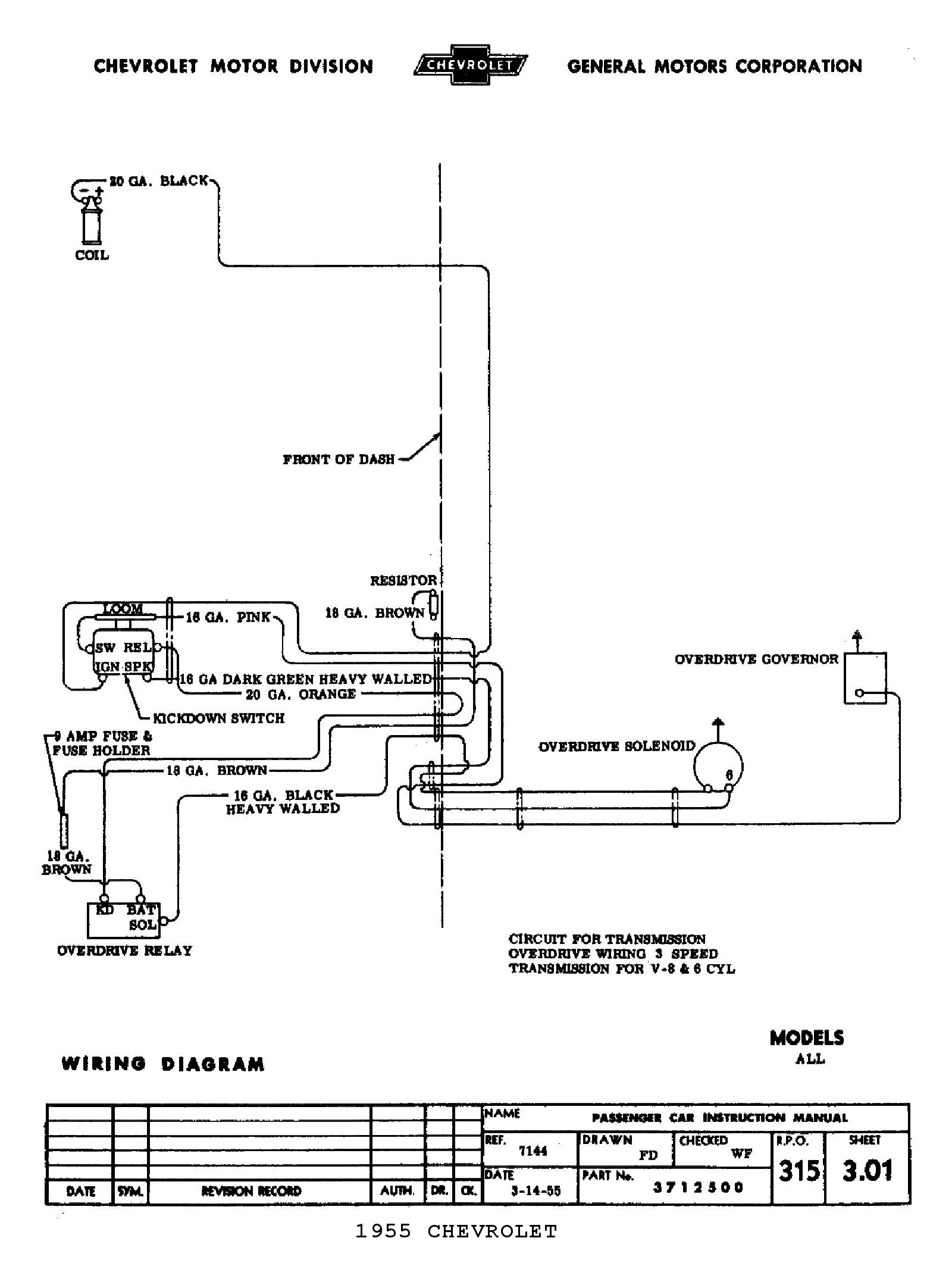 chevy wiring diagrams wiring diagram for 55 chevy bel air 1955 5 speed overdrive circuit · 1955 body wiring diagram