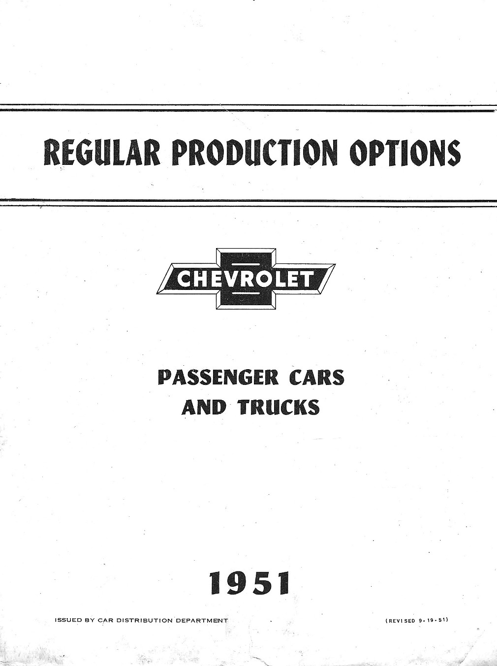 1951 Chevrolet Regular Production Options
