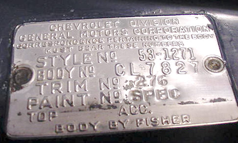 1957 Chevy Vin Plate Location on 1956 chevy vin number location