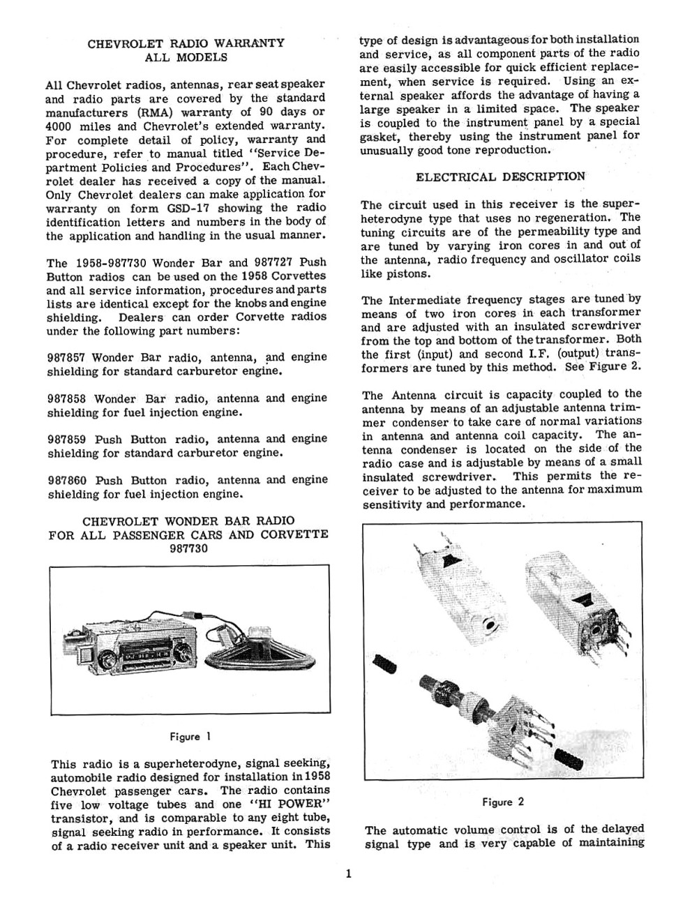 Snap Old Chevrolet Radio Information Online Chevy Manuals Autronic Eye Circuit Diagram For The 1960 Passenger Car 1958 And Autotronic Service Shop Manual