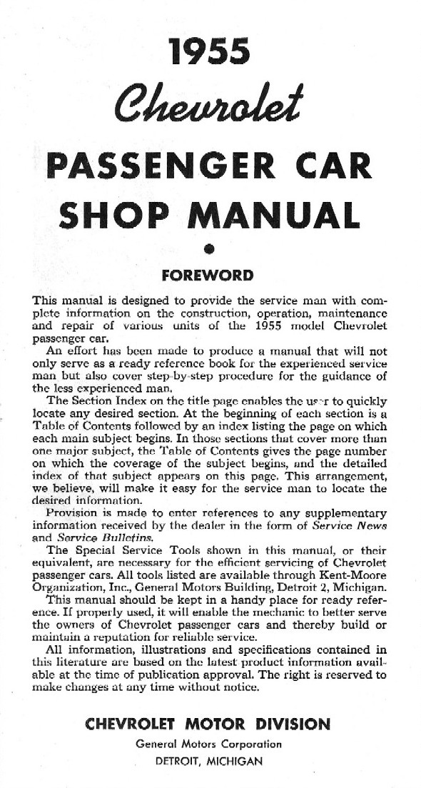 1955 chevrolet passenger car shop manual rh chevy oldcarmanualproject com 59 Chevy 58 Chevy